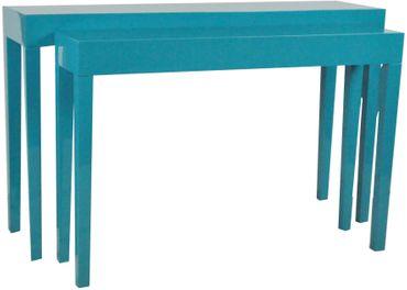 SET Beistelltisch Konsole Tisch blau hochglanz