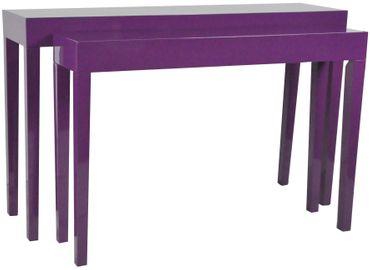 SET Beistelltisch Konsole Tisch Lila hochglanz