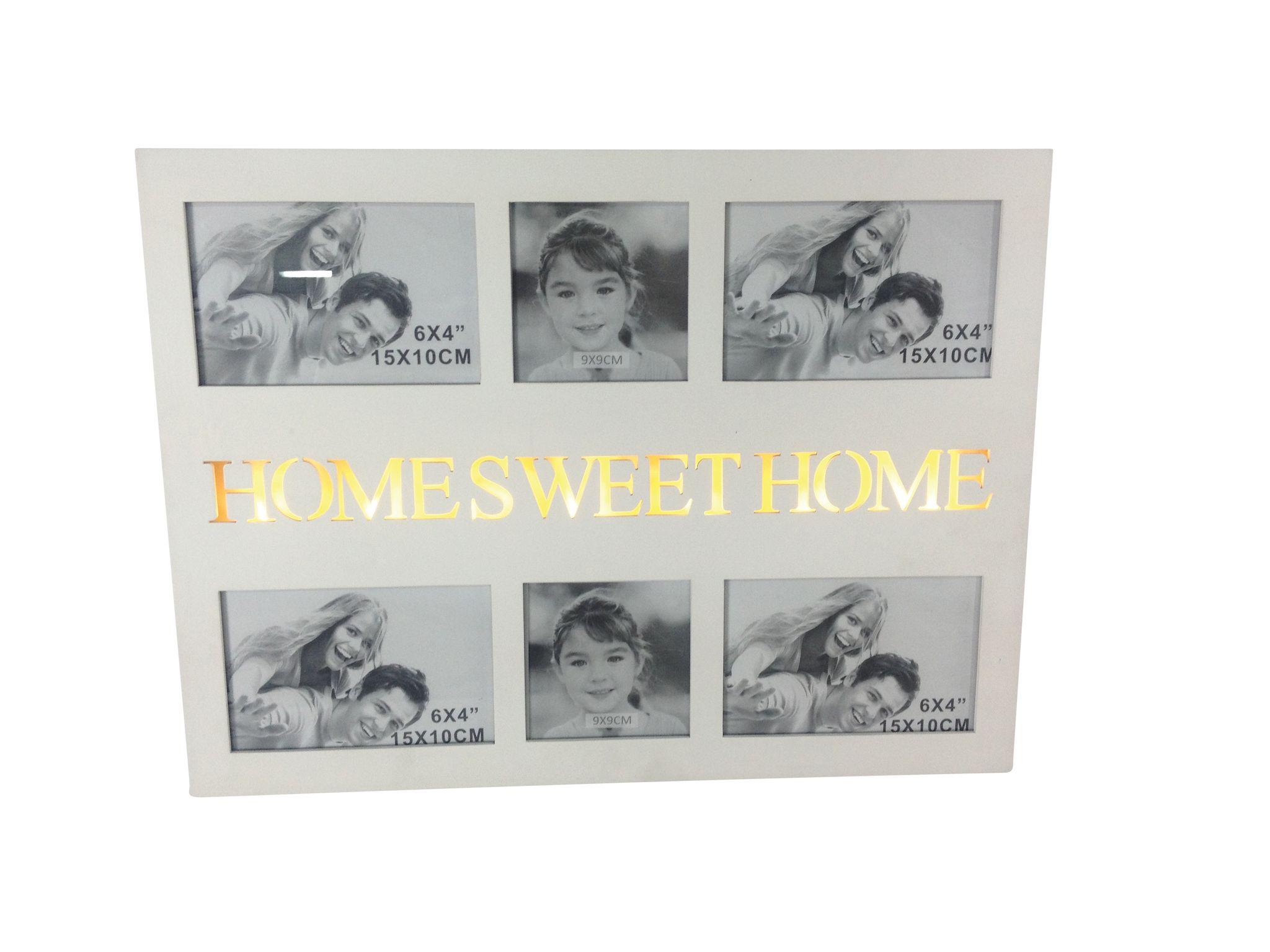 bilderrahmen home sweet home collage fotorahmen gro wei holz family fotowand ebay. Black Bedroom Furniture Sets. Home Design Ideas