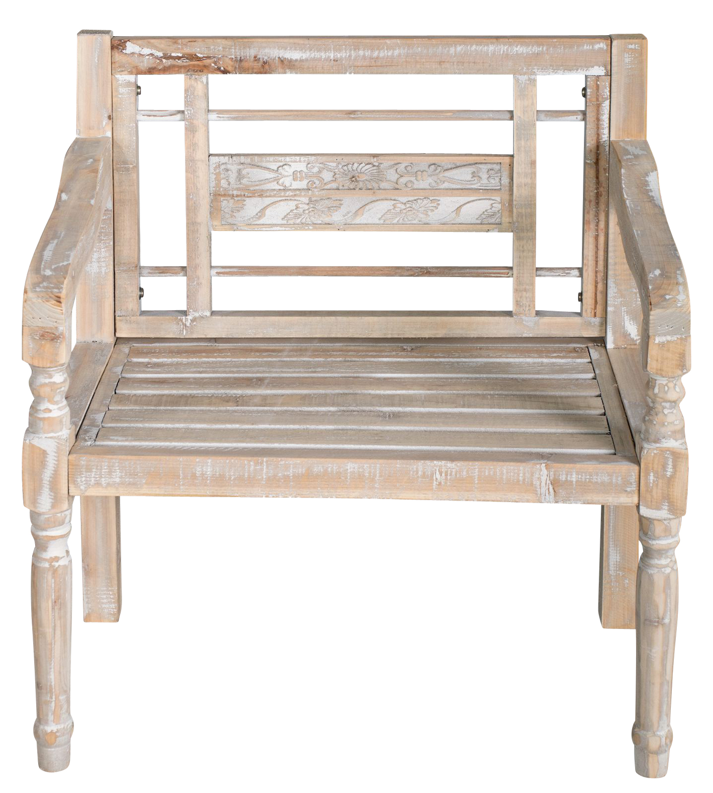 Chair Wooden Antique White Solid Wood Bench Backrest