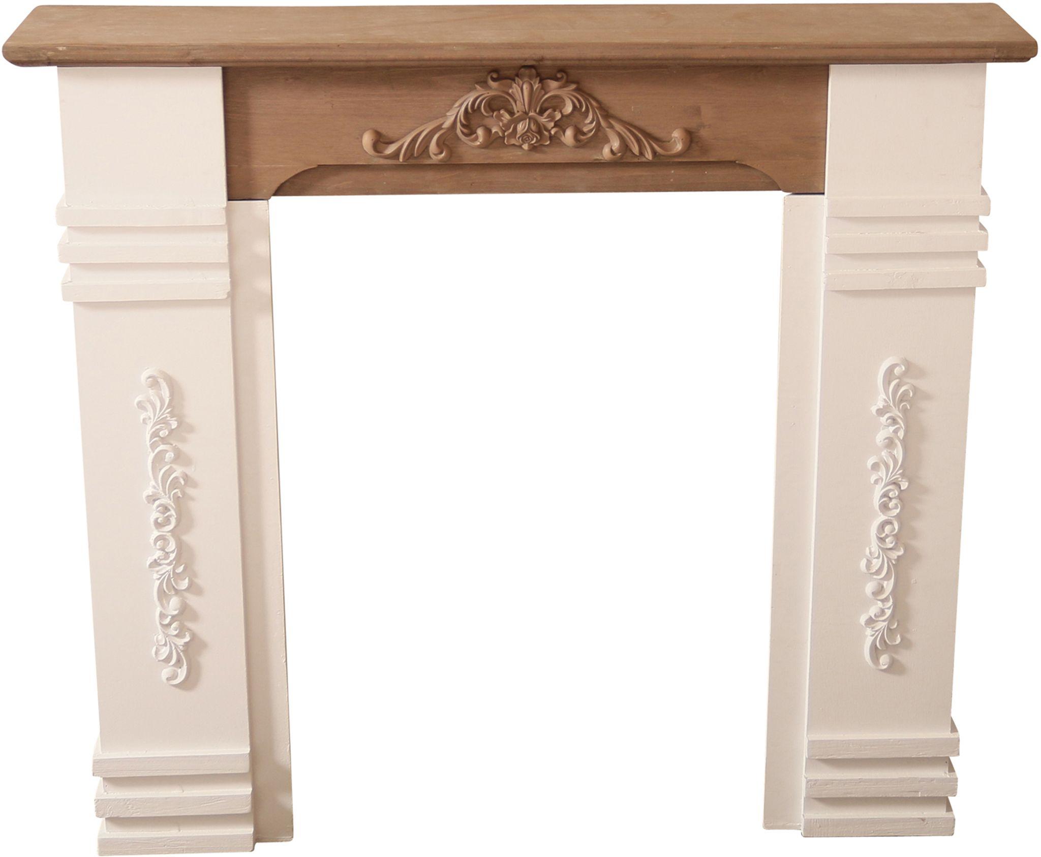 Kaminumrandung weiß braun aus Holz | günstige Landhausmöbel online ...