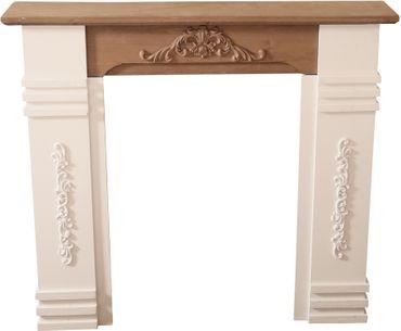 Kaminumrandung weiß braun aus Holz