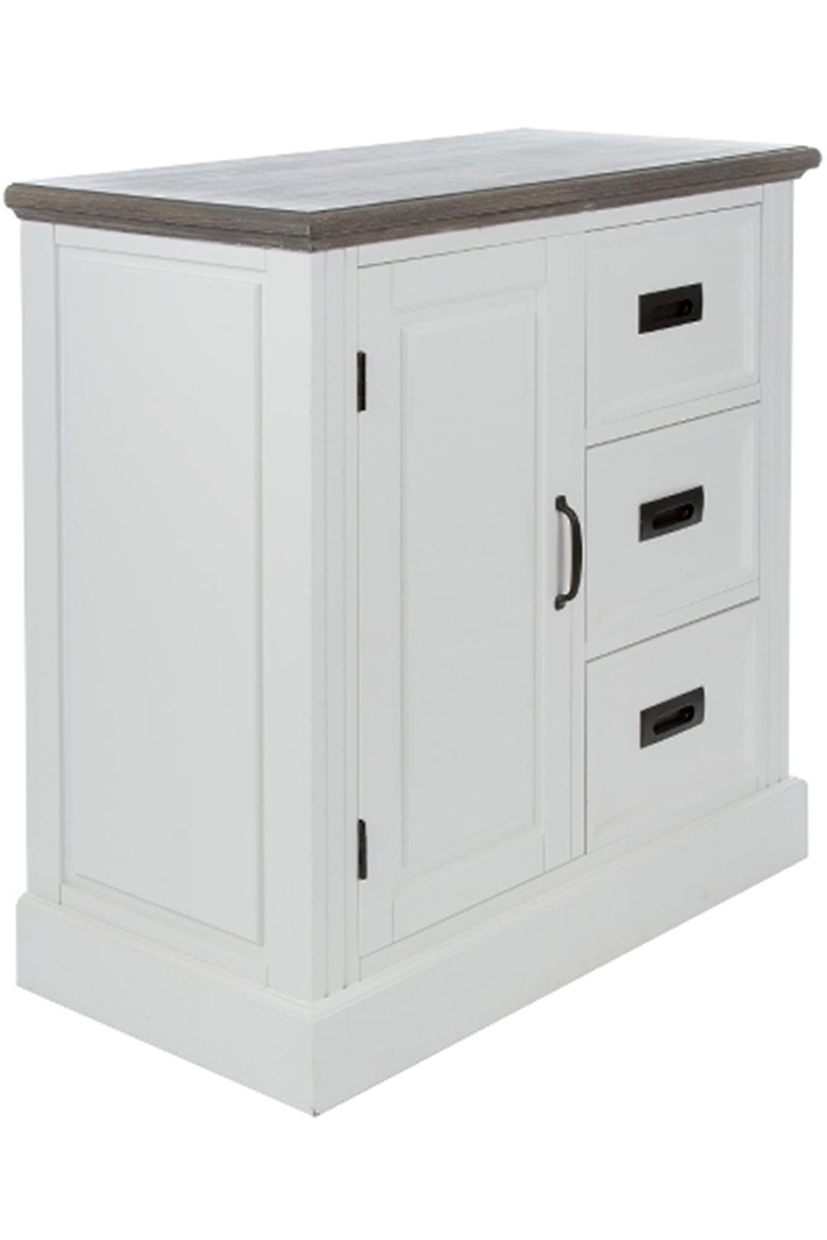 Kommode 3 Schubladen und Tür weiß braun Schrank | elbmöbel