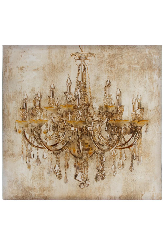 Ölbild Kronleuchter Wandbild 80cm Creme Gold