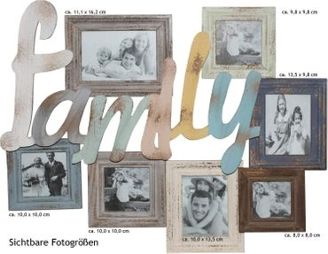 Bilderrahmen Collage bunt shabby FAMILY