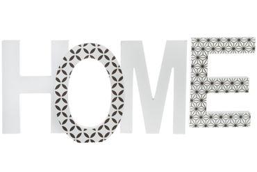 Schriftzug HOME schwarz weiß Holz