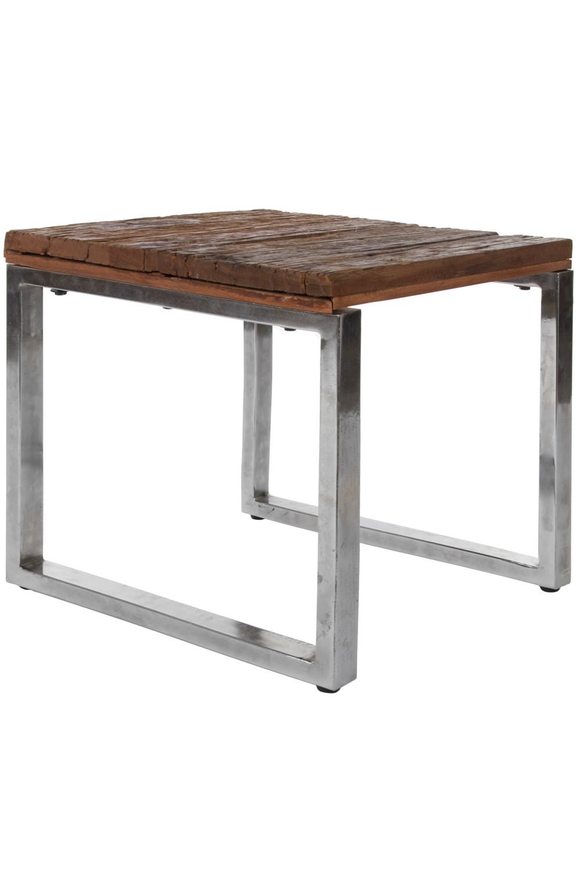 Table Basse Métal Cadre Marron D\'Appoint Bois Massif Urban   eBay
