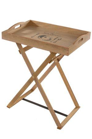 Holztablett Tablett + Gestell Vintage braun