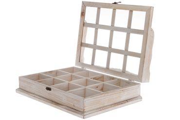 Schmuckkasten Glasdeckel Beige Holz Verzierungen
