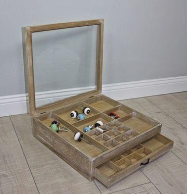 Schmuckkasten mit Glasdeckel Holz braun