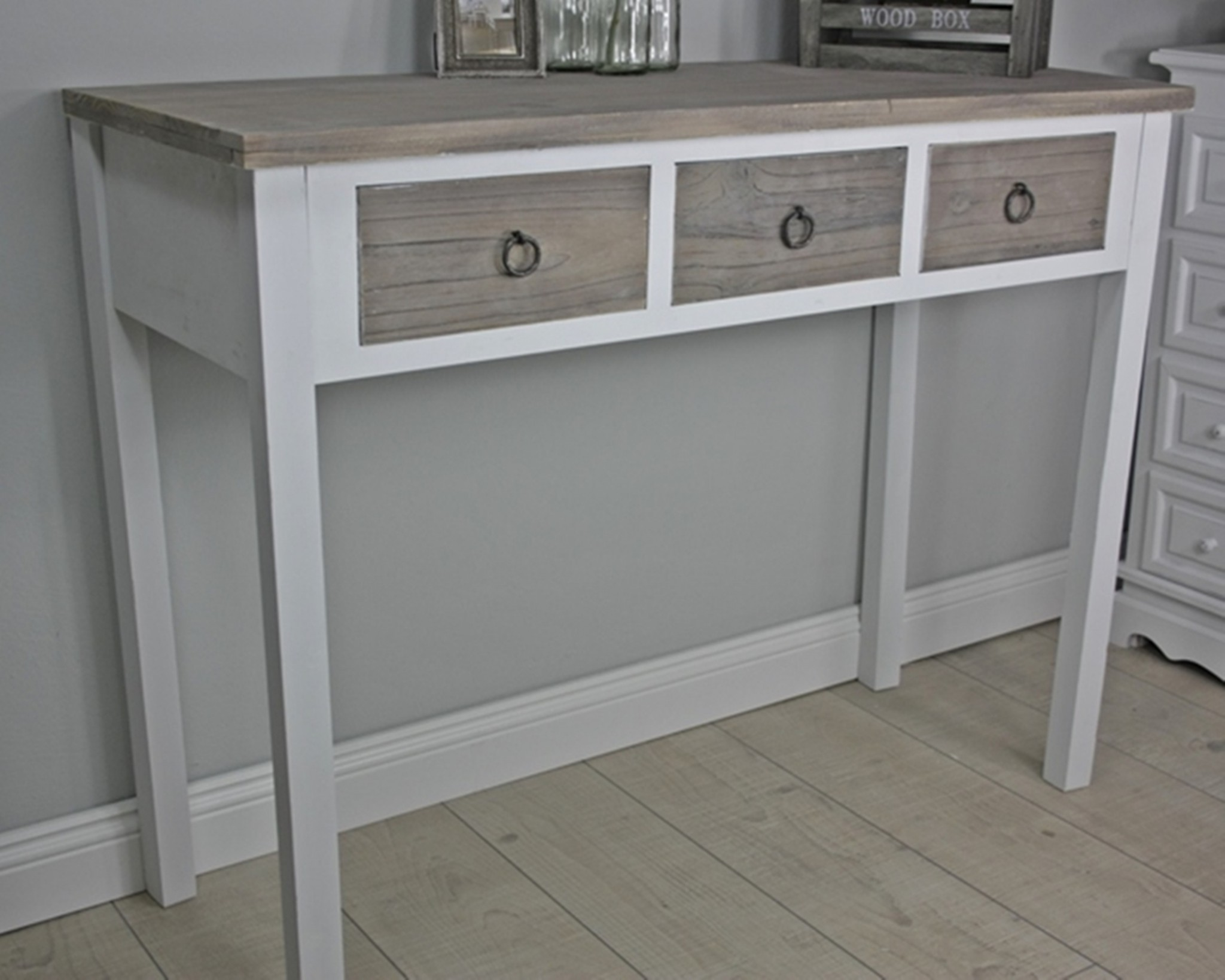 console sideboard secretary desk white wood brown country. Black Bedroom Furniture Sets. Home Design Ideas