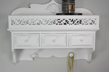 Wandschrank Haken Holz weiß