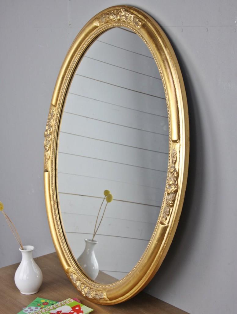 wandspiegel oval gold holz 77cm g nstige landhausm bel online kaufen elbm bel. Black Bedroom Furniture Sets. Home Design Ideas