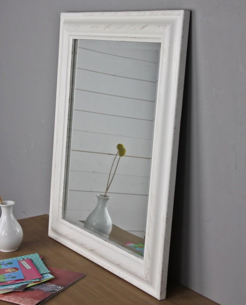 spiegel 62 x 52cm wandspiegel schlicht weiß holz landhaus