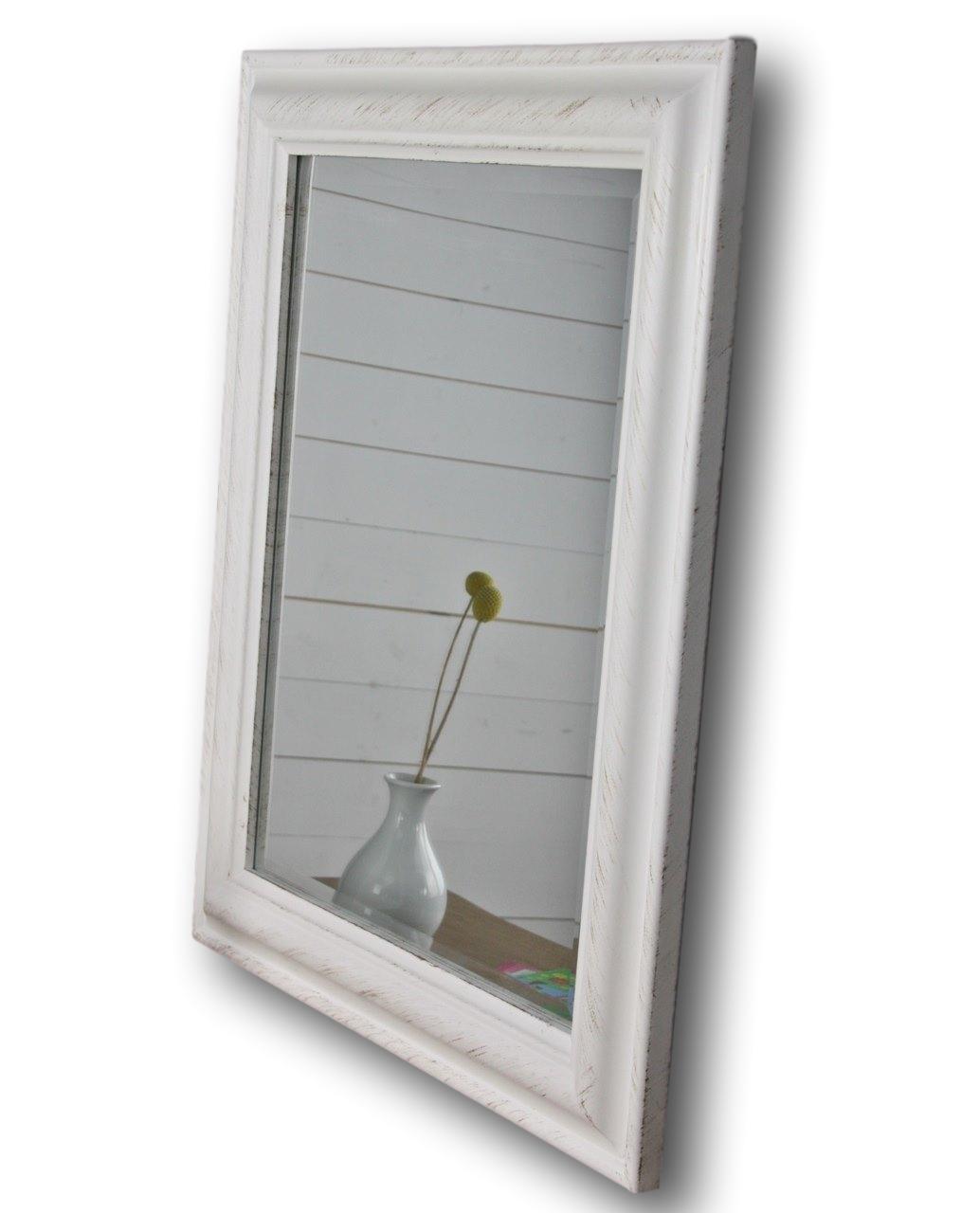 Spiegel 62 X 52cm Wandspiegel Schlicht Weiss Holz Landhaus Holzrahmen Badspiegel Ebay