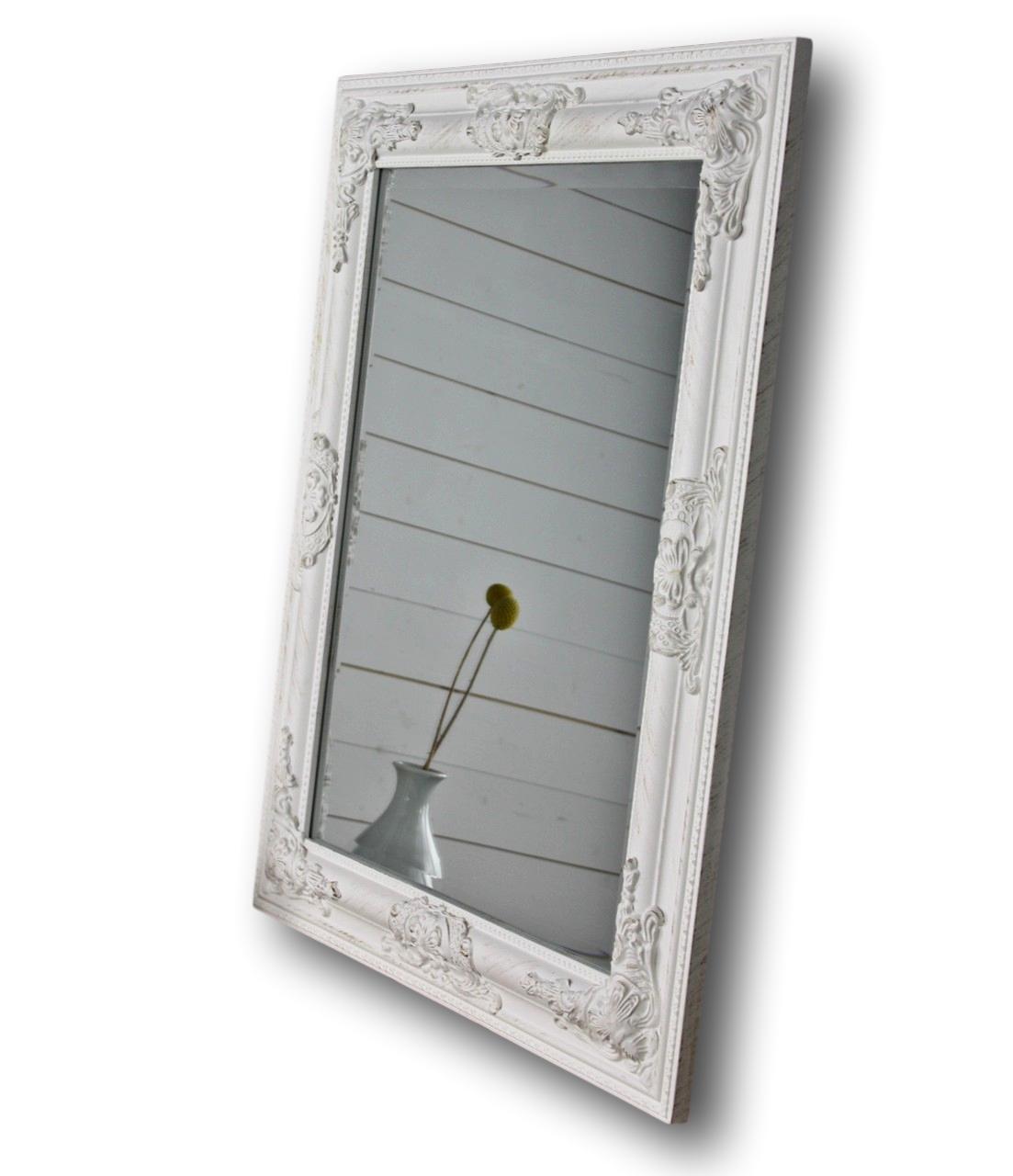 mirror 62x52 cm wall mirror baroque white wooden cottage. Black Bedroom Furniture Sets. Home Design Ideas