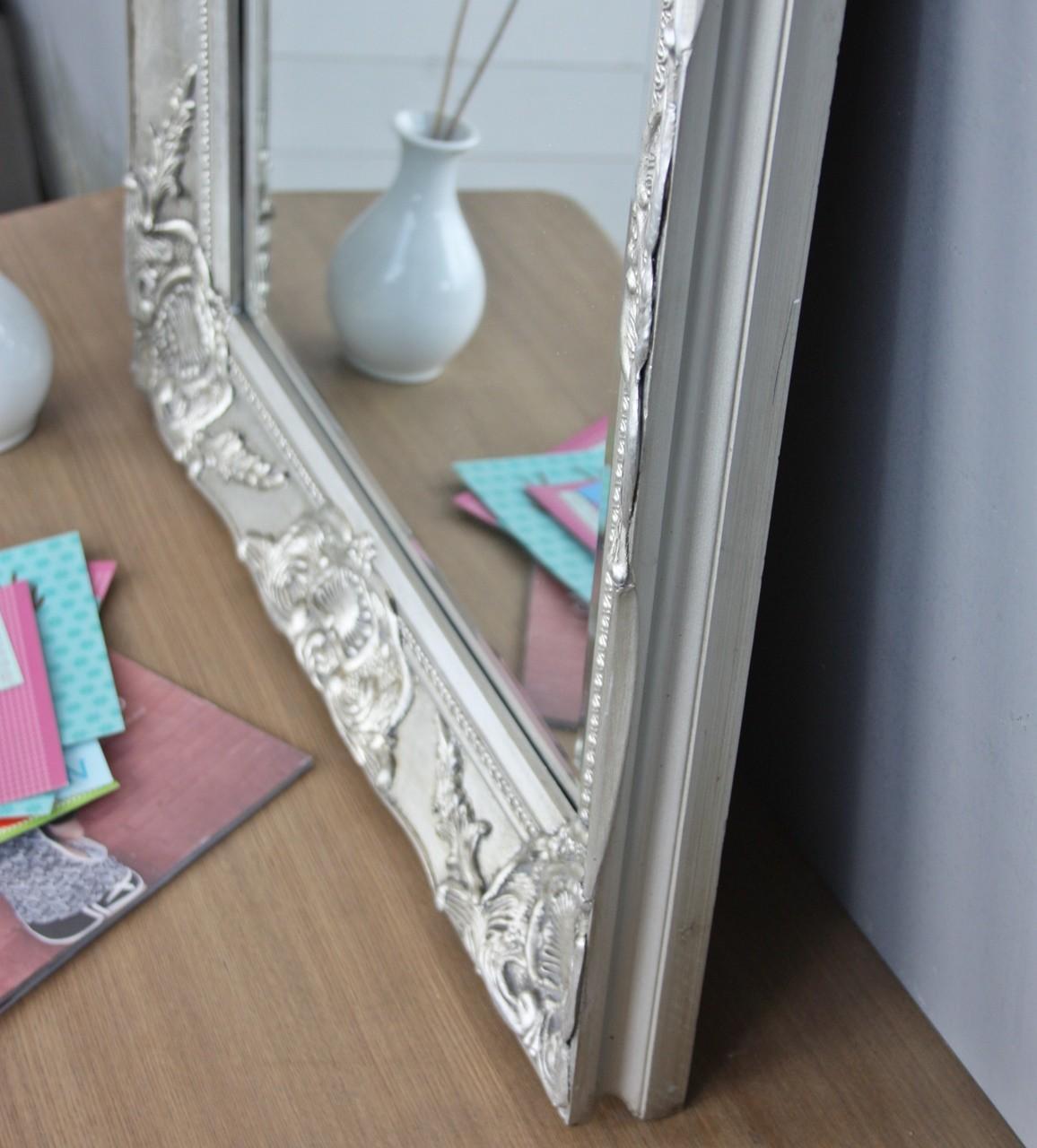 spiegel silber 62x52cm holz neu wandspiegel barock. Black Bedroom Furniture Sets. Home Design Ideas