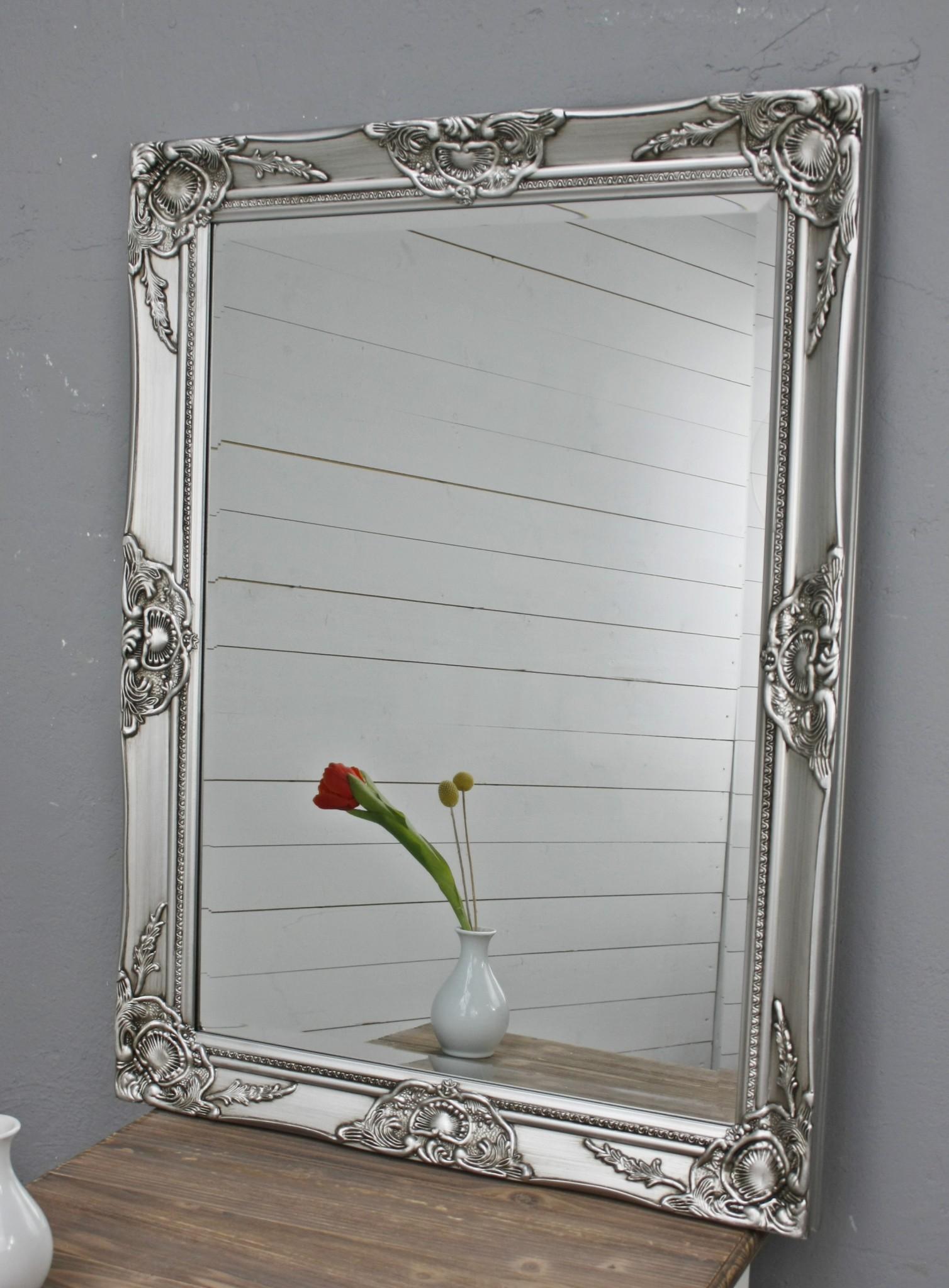 spiegel silber antik 82 x 62 cm holz wandspiegel barock. Black Bedroom Furniture Sets. Home Design Ideas