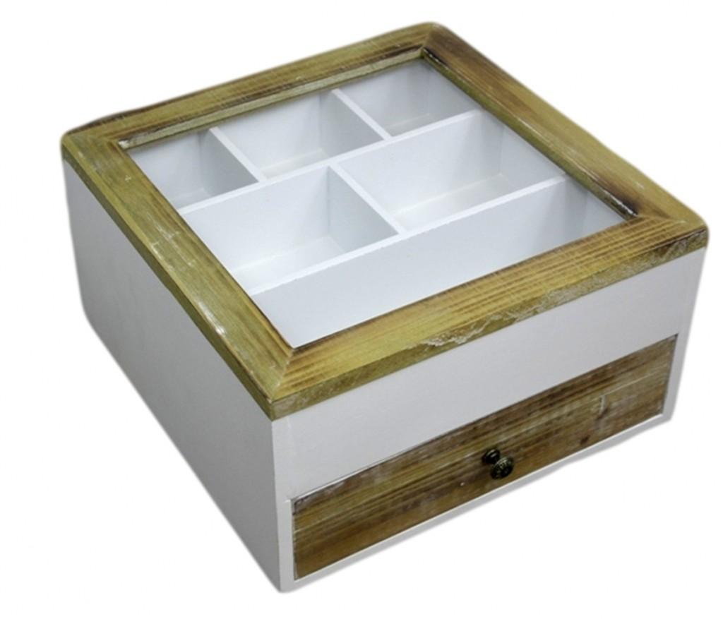 H9 x B30 x T30w cm elbm/öbel Kiste Holzkiste wei/ß Holz Schmuckkiste Deckel Box Holzbox Glasdeckel Glas 7 F/ächer