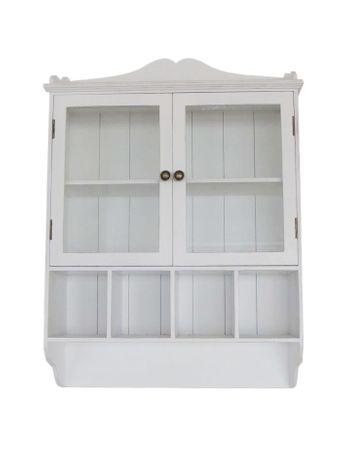 Wandschrank mit Glastüren Wandregal weiß Holz