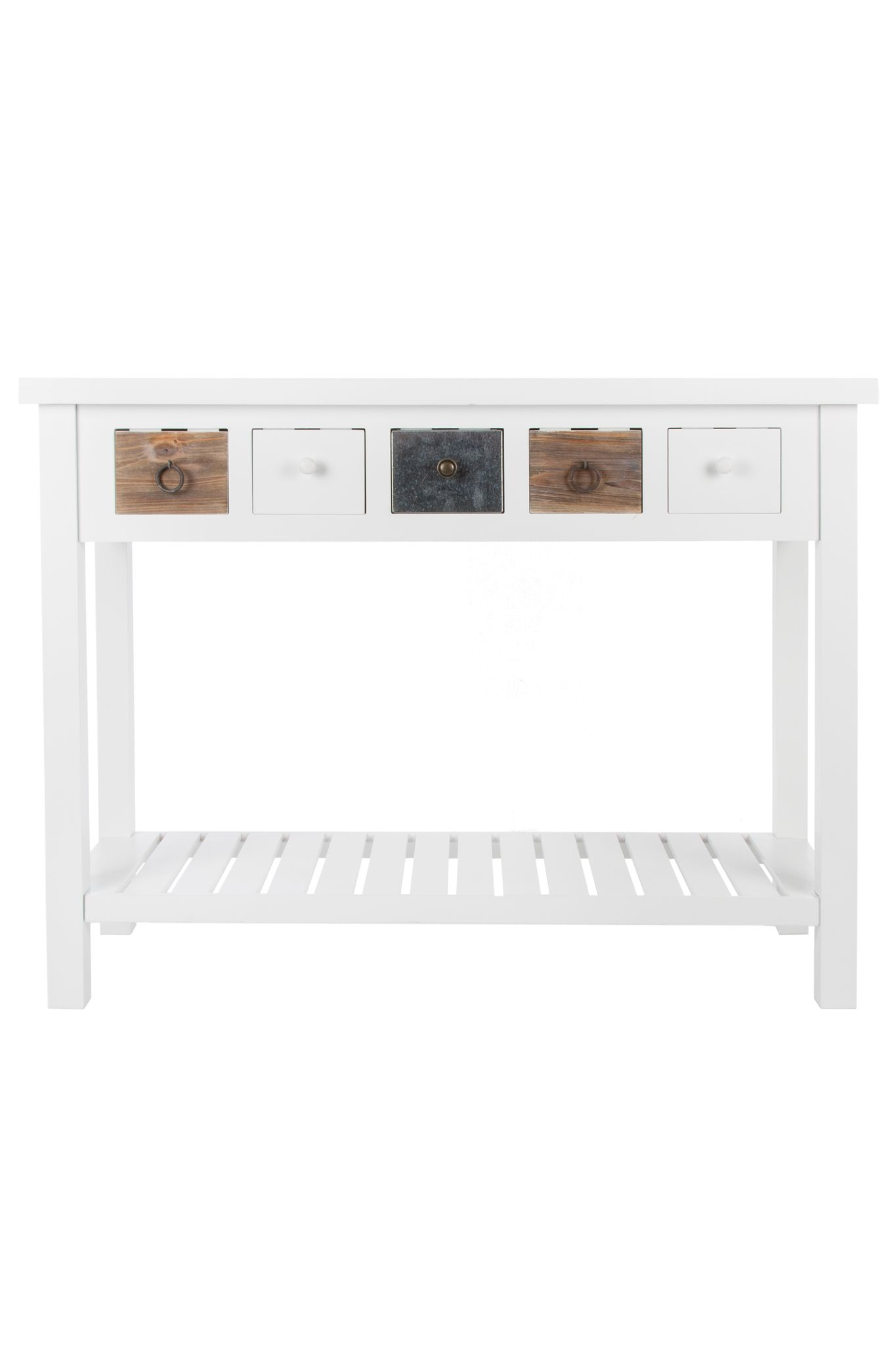Dresser White Wood Brown Antique Country House Console