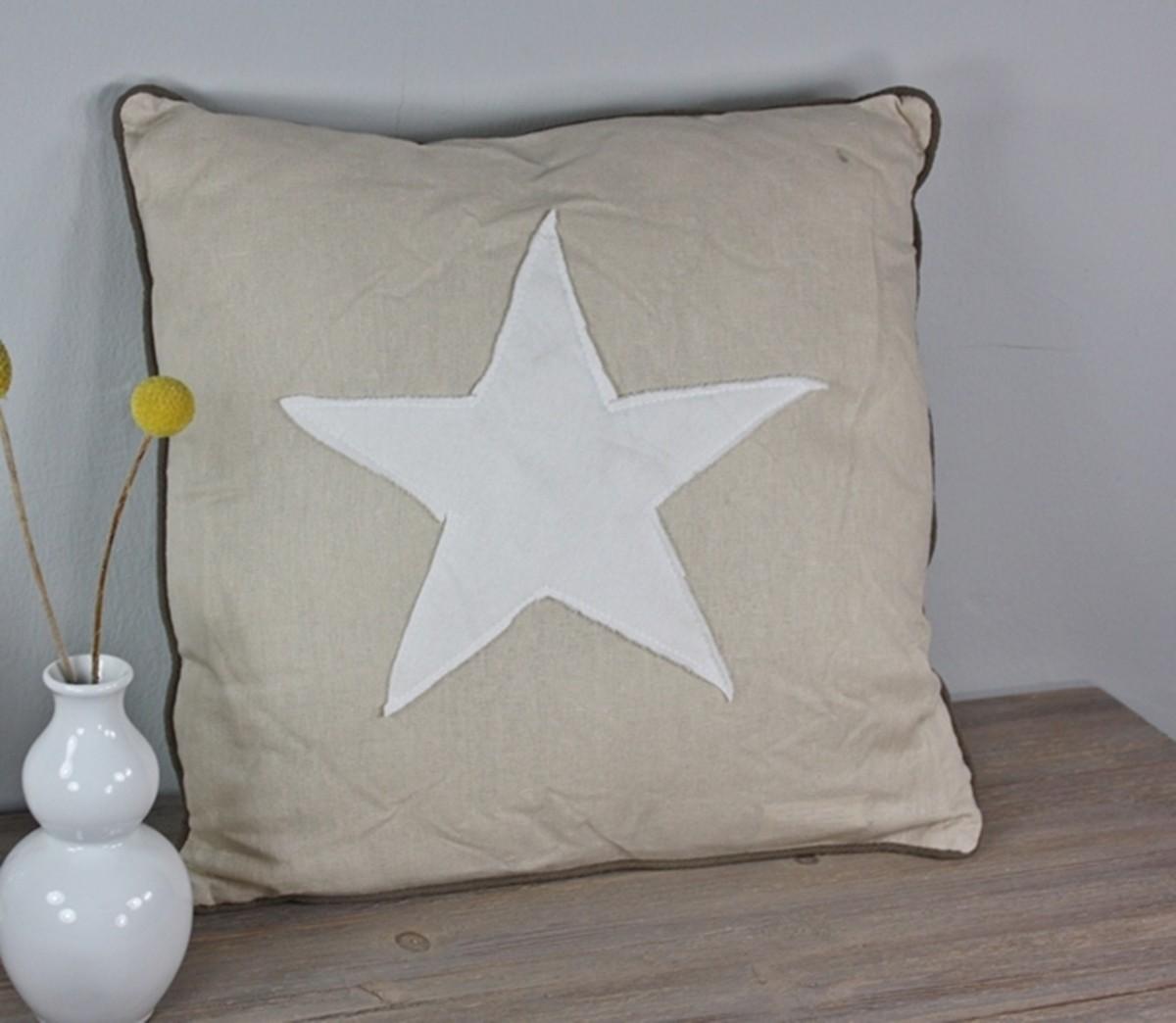 kissen stern beige wei elbm bel online shop. Black Bedroom Furniture Sets. Home Design Ideas