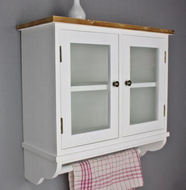 Wandregal Glastüren weiß Holz