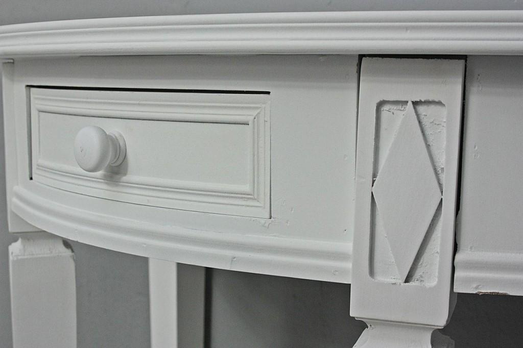 tisch wei halbrund landhaus. Black Bedroom Furniture Sets. Home Design Ideas