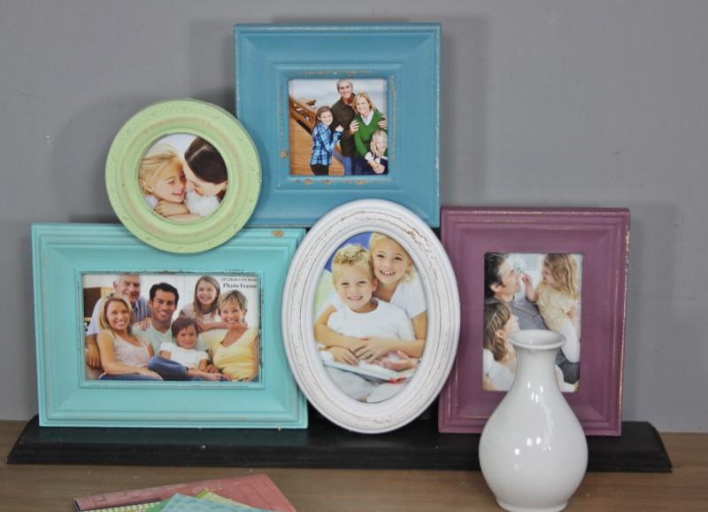 bilderrahmen collage wei blau bunt antik holz rahmen. Black Bedroom Furniture Sets. Home Design Ideas