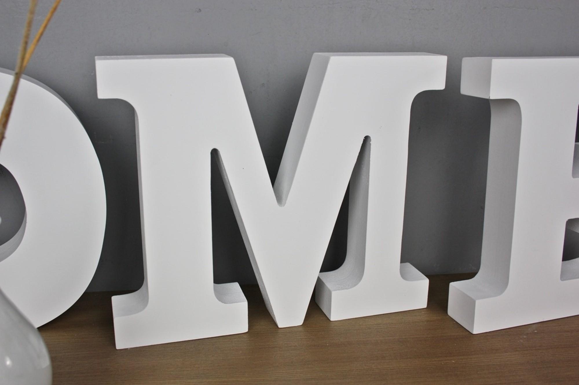 schriftzug home wei holz. Black Bedroom Furniture Sets. Home Design Ideas