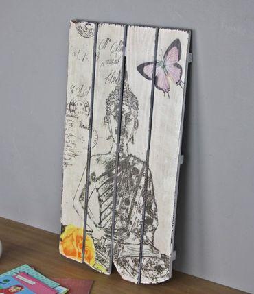 Wandbild Buddha Holz bedruckt