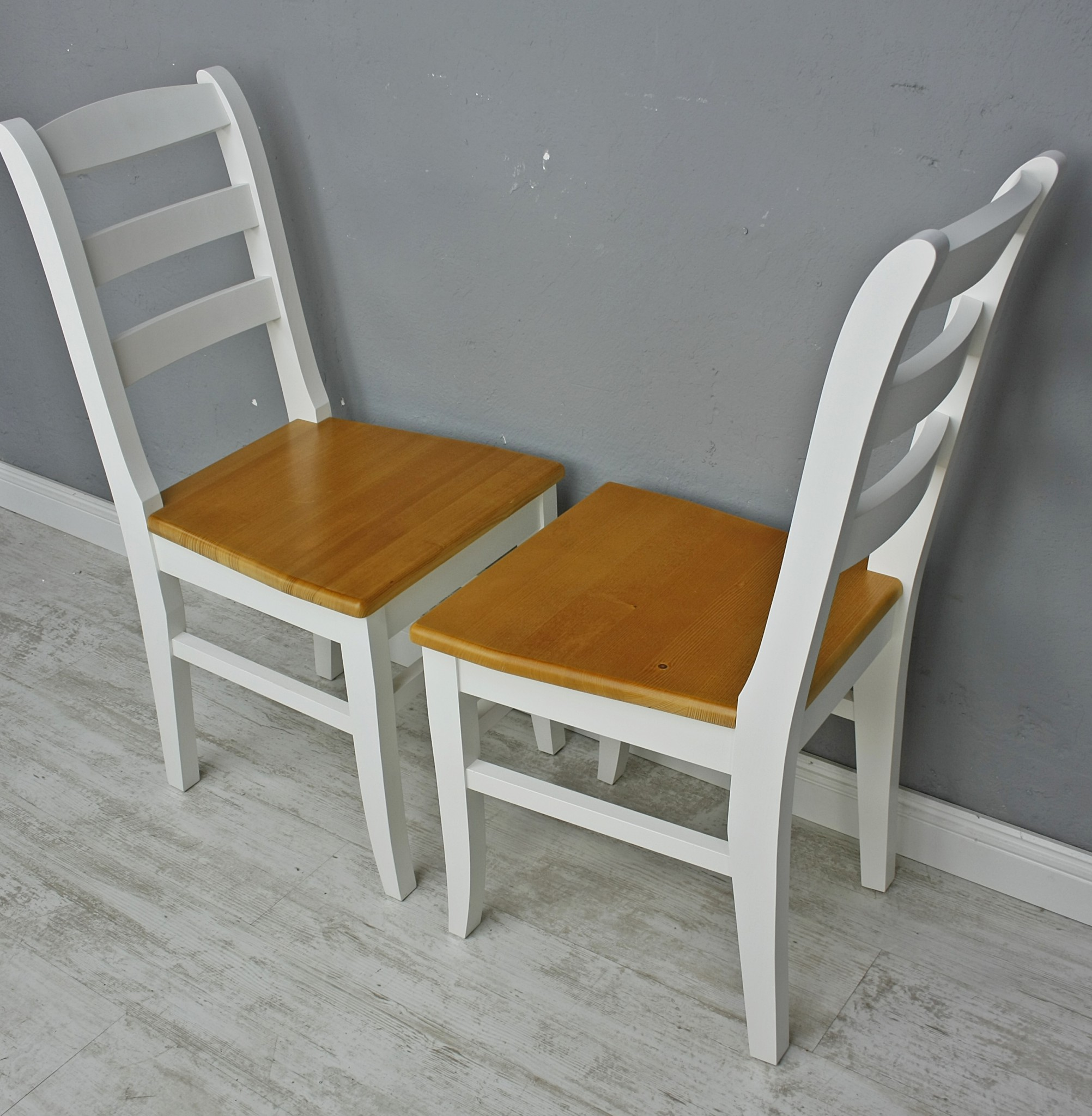 2x Stuhl Holzstuhl Küchenstuhl LENA Massiv Weiß Braun Holz