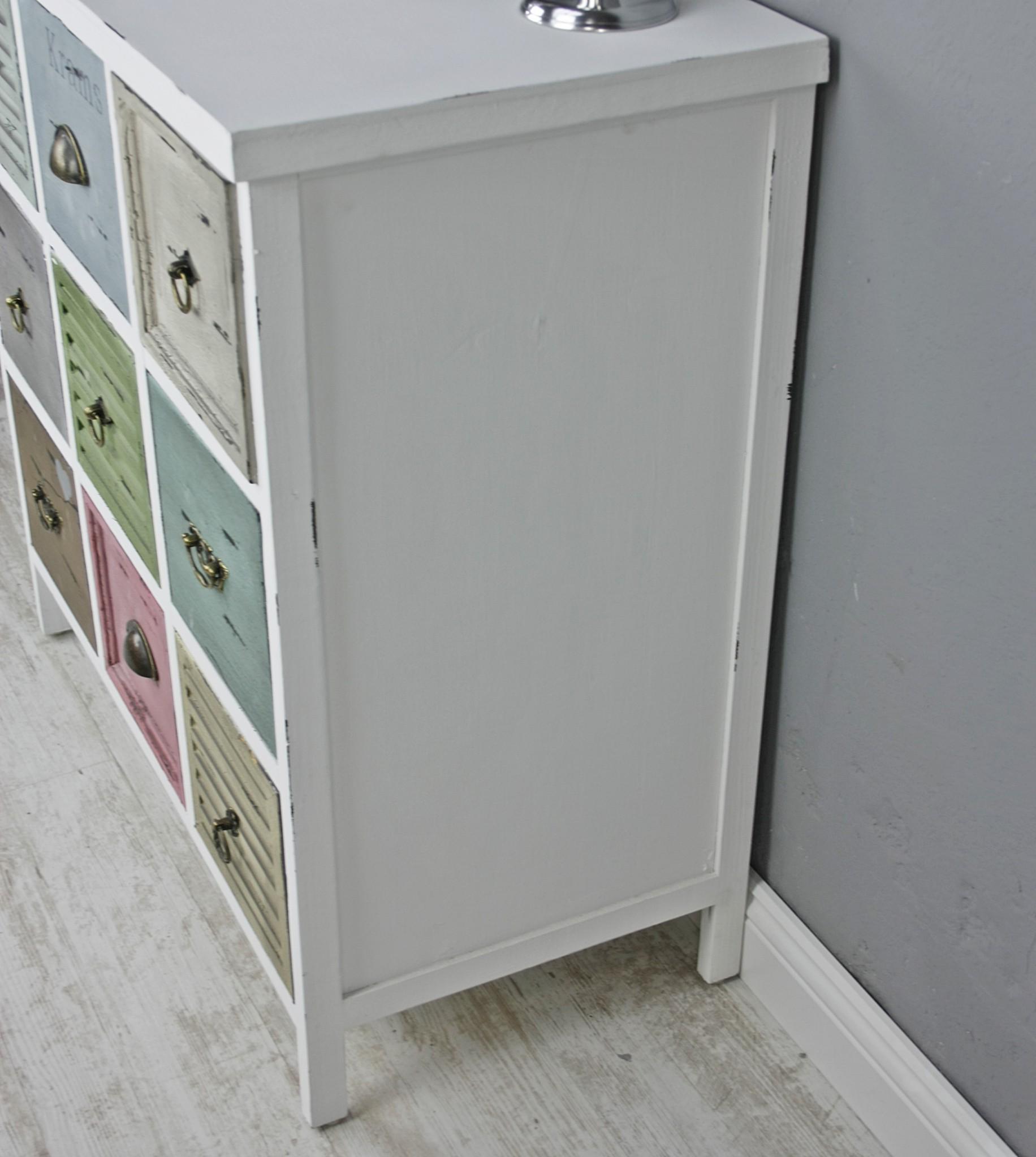 kommode schrank holz wei bunt antik landhaus shabby schubladen massiv 80x80x39 ebay. Black Bedroom Furniture Sets. Home Design Ideas