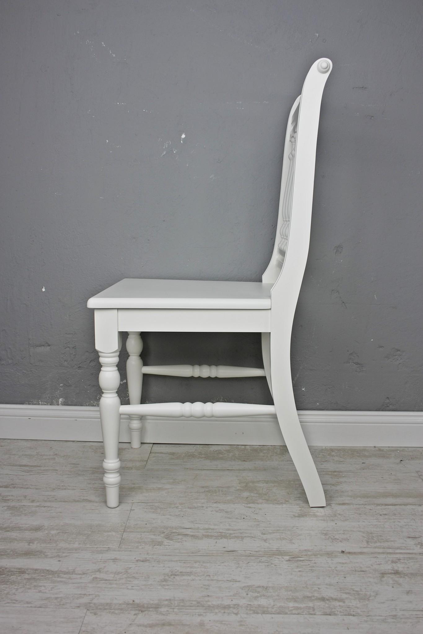 Stuhl Holzstuhl Küchenstuhl OTTO Massiv Weiß Vollholz Holz