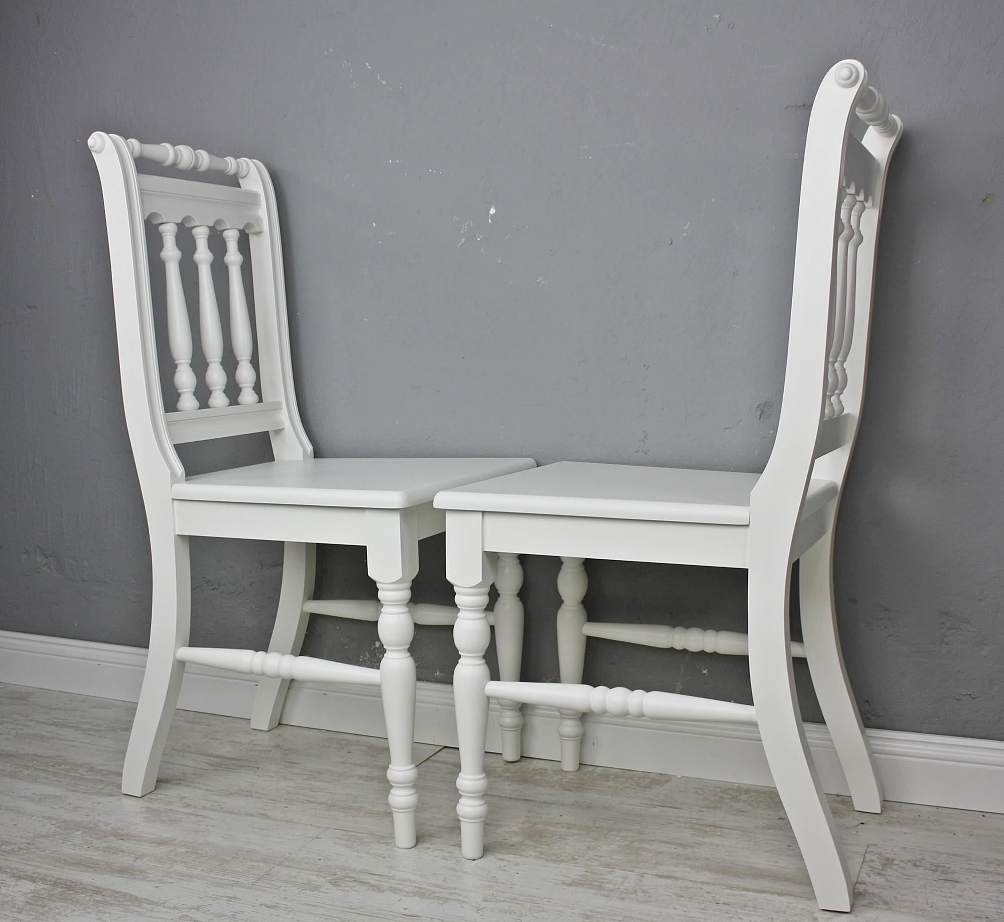 2x Stuhl Holzstuhl Küchenstuhl OTTO Massiv Weiß Vollholz