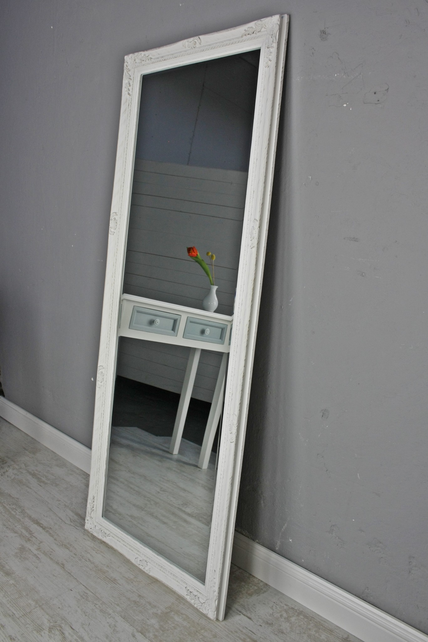 mirror white antique 150x60 cm wood new baroque wall bathroom standing ebay. Black Bedroom Furniture Sets. Home Design Ideas
