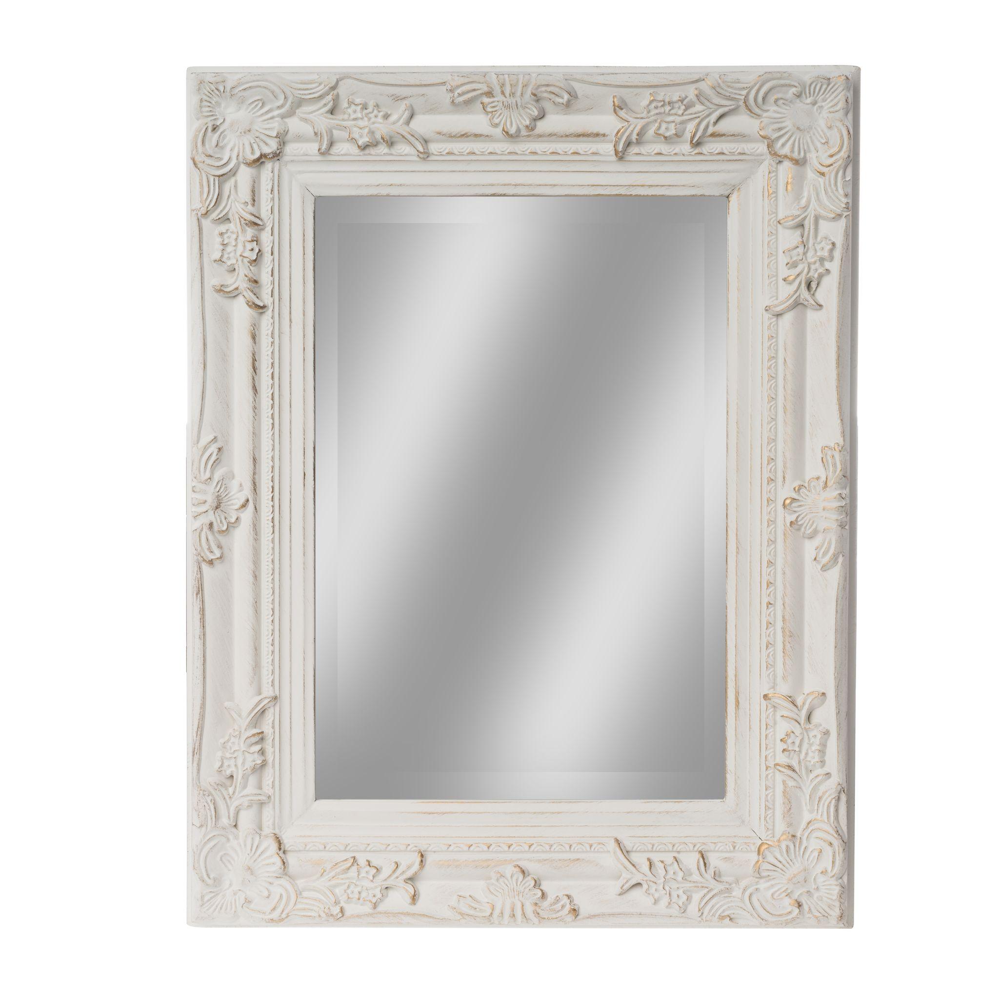 spiegel wei antik 45x35 cm holz neu wandspiegel barock. Black Bedroom Furniture Sets. Home Design Ideas