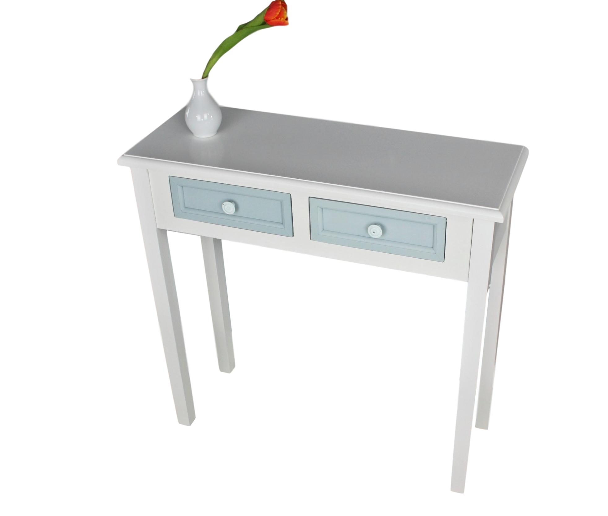 Konsole 2 Schubladen weiß blau | günstige Landhausmöbel online ...