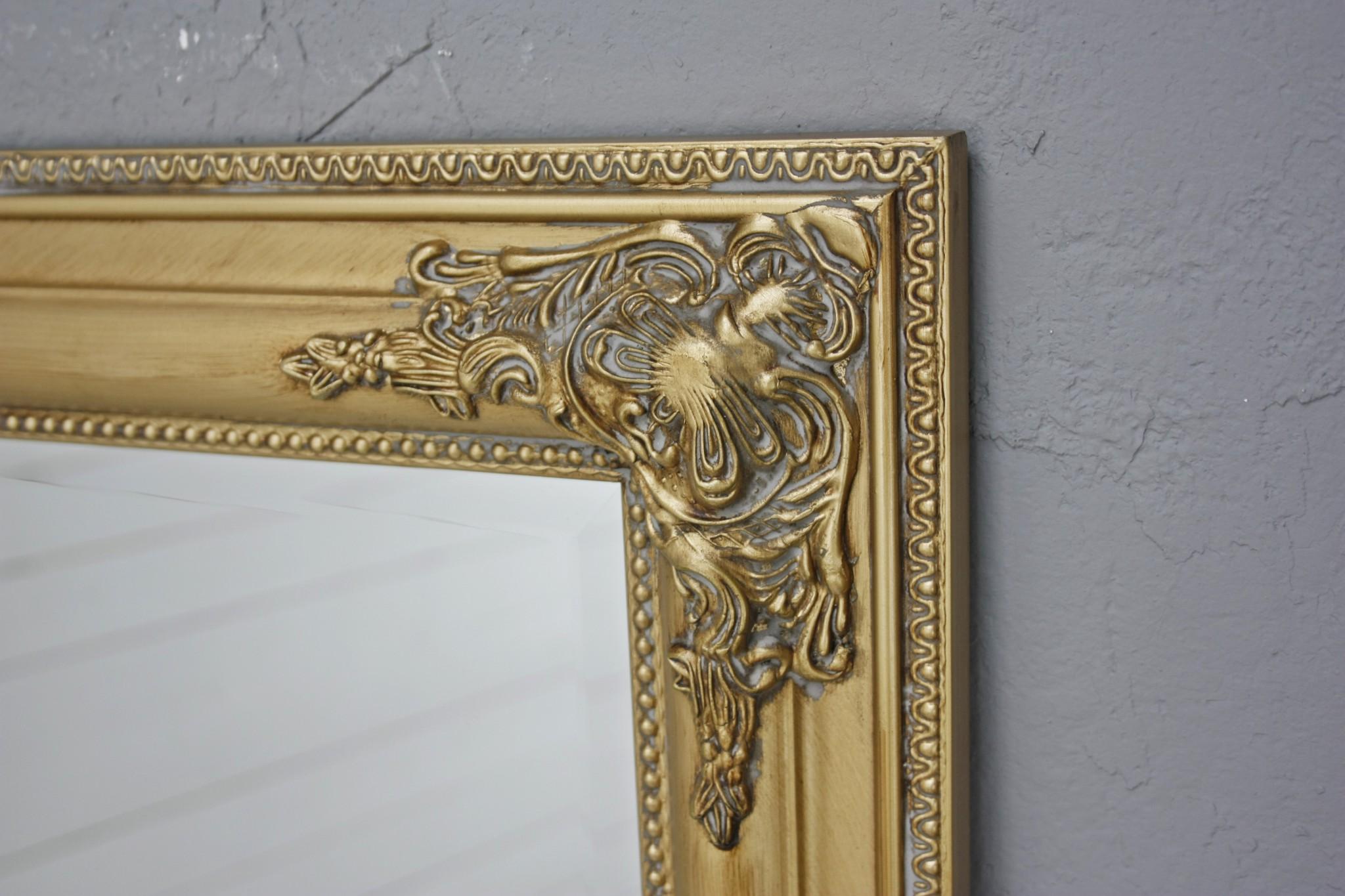 spiegel gold antik 132 x 72 cm holz wandspiegel barock badspiegel standspiegel ebay. Black Bedroom Furniture Sets. Home Design Ideas